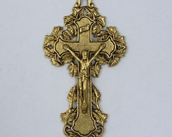 48mm Gold Ornate Crucifix with Leaf Border  #CRA049