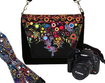 SET Dslr Camera Bag and Dslr Camera Strap, Camera Bag Slr and Camera Neck Strap, colorful stripes dots MTO