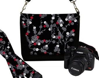 SET Dslr Camera Bag and Dslr Camera Strap, Camera Bag Slr and Camera Neck Strap, Cherry Blossom black white red MTO
