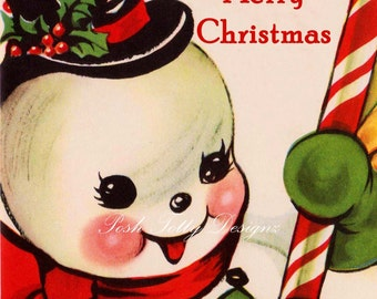 Vintage Snowman Merry Christmas Greetings Card Digital Greeting Card Download Printable Image (410)