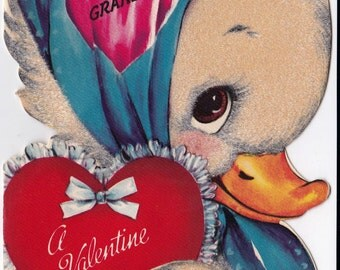 Vintage 1940s For Grandma A Valentine Greetings Card (B7)