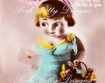 1920s A Little Girl Birthday Vintage Postcard Digital Download Printable Image (PC53)