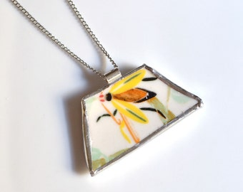 Recycled China Pendant on Chain - Yellow Bug