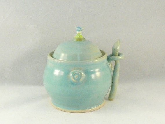 Ceramic sugar bowl with spoon / great for salt, spices, jam, chutney / home decor / hostess gift - blue lidded storage jar - small canister