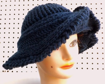 Womens Hat, Womens Crochet Hat, Navy Blue Hat Blue Navy Hat, Avant Garde, FRONTIER Wide Brim Hat, Floppy Hat, Wide Brimmed Hat