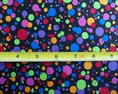 Fat Quarter FQ Large Multi Colored Dots on BLACK Fabric Traditions 100% Cotton