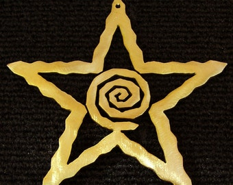 Spiral Star Christmas Ornament Metal, Open, Two Sided, Gold and Silver, Southwest