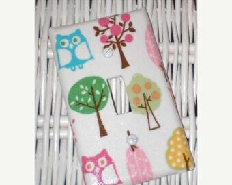 ON SALE BROOKE Owl Woodland Girls Switchplate  handmade with Pottery Barn Kids fabric