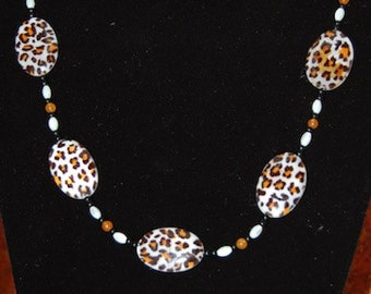 Leopard Print Necklace and Earring Set