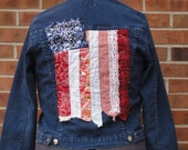 upcycled medium womans denim jacket with american flag detailing funky hobo