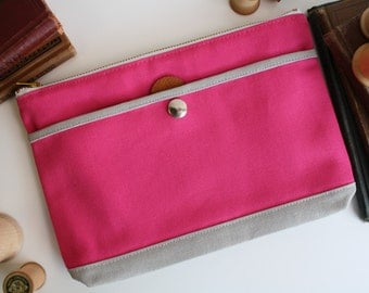 the utility bag - hot pink + smokey - medium canvas zipper utility cosmetic  office school pouch