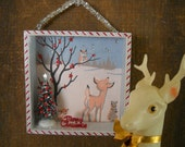 Christmas in the Forest 3-D  Winter Scene Shadowbox Diorama  Assemblage Christmas Tree Deer Squirrel Bunny Owl Merry Christmas