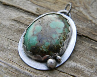 SALE - Large rustic turquoise pendant - oxidized sterling silver