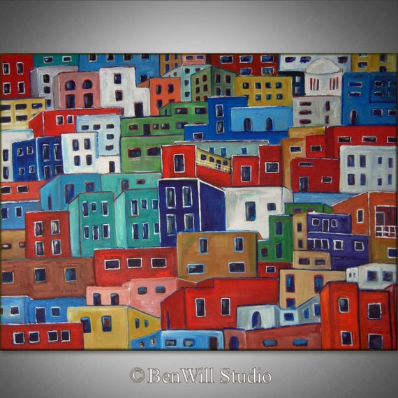 """54"""" Huge Abstract Painting COLORFUL Original Modern Painting HOUSES Mexican Art on Gallery Canvas 54x40 by BenWill"""