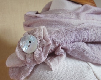Hand Dyed Alkanet Lilac Purple Cotton Rosette Scarf