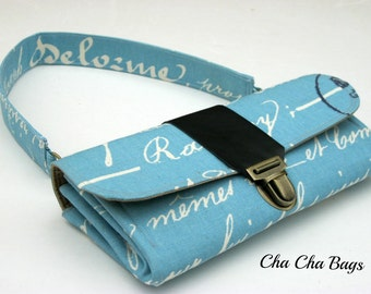 Women's Wallet, Smartphone iPhone Wallet, Clutch, Purse, Accordion, Blue Wallet in French Script - Ready to Ship