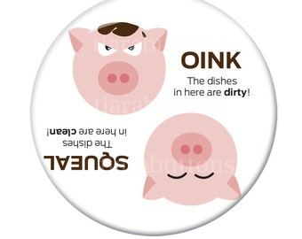Magnet for the dishwasher- Dirty or Clean Pig - 2.25 inch round - New Original Design