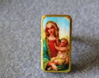 Virgin Mary Jesus Recycled Mini Domino Ring Adjustable V8