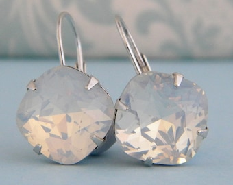 White Opal Crystal Cushion cut Silver Prong Leverback Earrings