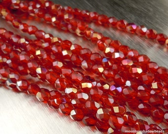 4mm Czech Beads  - Czech Glass Beads Siam Ruby Twilight Faceted Round - 50 pcs (G - 140)