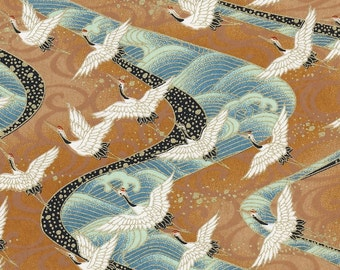 Chiyogami or yuzen paper - long life cranes in white and gold on waves of green and blue, 9x12 inches