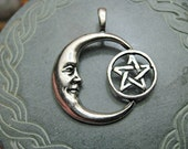 Pewter Crescent MooN Pentacle Pendant