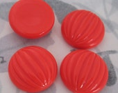 12 pcs. vintage fluted ridged red coral plastic cabochons 20mm - f2957