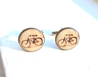 Vintage Bike Dime Cufflinks - Bike Cuff links - Eco  Recycled Gift -  bicycle cufflinks - bicycle gift for him - under 30