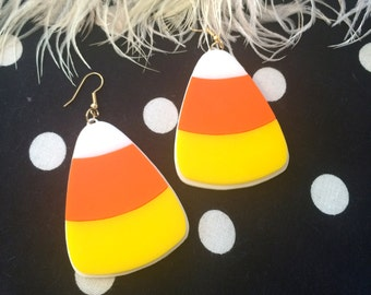 Candy Corn Acrylic Earrings