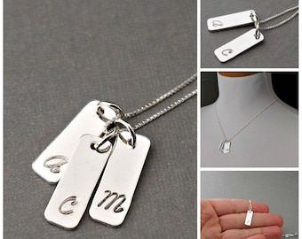 Silver Monogram Necklace , Personalized Jewelry , Initial Necklace