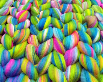 Merino Wool Naughty Neon Blend Combed Top Fiber 100g 3.5oz