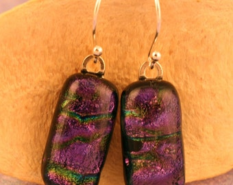 Sterling Silver Fused Glass Dichroic Earrings No. 146