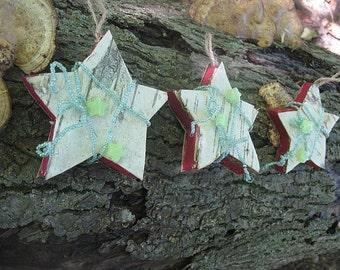BIRCH BARK wooden STAR  Hanging FoReST ornament