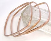 Square Bangles Rose Gold Dipped - Trio of Bracelets - Three Wide Geometric Stacking Bangles by Queens Metal