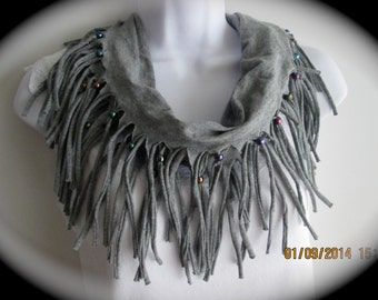 Women's tee shirt fabric scarf, beaded fringed scarf, fashion scarf in gray cotton jersey, shabby chic scarf, trendy scarf, casual scarf