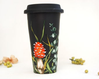 Coffee Mug, Tea Cup, Black Ceramic, Travel Mug | Shrooms and Grass Collection