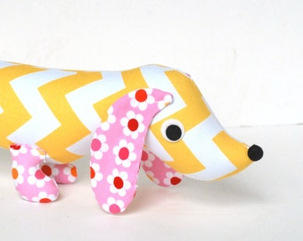Yellow Chevron Stuffed Wiener Dog Softie Plush for Kids Dachshund ENID