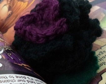 Crocheted Rose Lapel Pin - Black and Purple (SWG-PL-HEHE01)