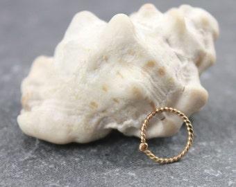 14K solid gold nose ring, 9MM Twisted Nose Ring, Tragus, Cartilage, Nostril Hoop,