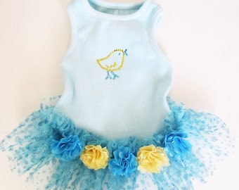 Dog Dresses: Tutu Turquoise with a yellow chickie and turquoise and yellow flowers Yorkie Maltese