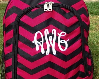 SALE Fushia and Black Chevron Backpack Monogrammed Name or Initials of Your Choice