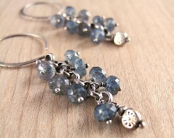 Silver & Moss Aquamarine Spiral Earrings