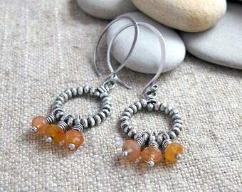 Silver Beaded Ring Earrings with Carnelian