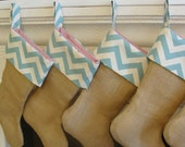 Burlap Christmas Stocking with Blue Chevron and Red and White Striped Lining