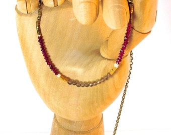 Men's Necklace: Smokey Quartz, Rhodolite, MOP and Pyrite QD-Men's