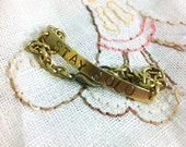 Stay Gold Delicate Stamped Brass Bracelet