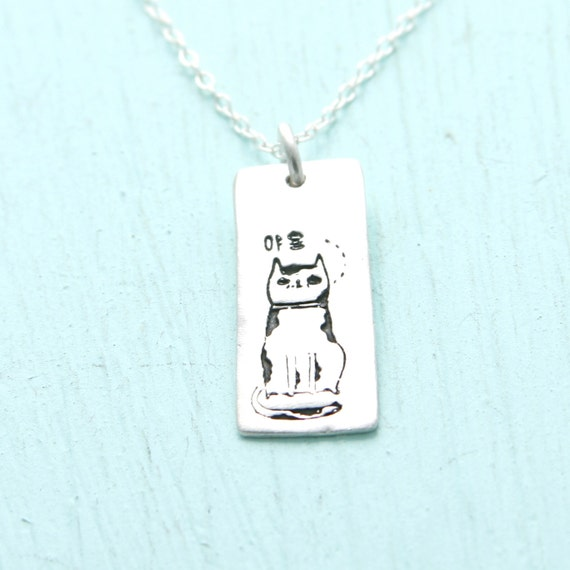 KOREAN MEOW CAT necklace, artwork by Gemma Correll, eco-friendly silver or nickel free white bronze. Handcrafted by Chocolate and Steel