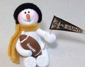 New Orleans Saints football: snowman ornament
