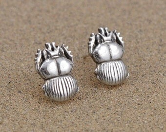 Scarab Beetle Earrings - Sterling Silver