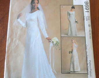 McCalls 9691 Bridal Gown Wedding Dress Sewing Pattern sz 8 10 12 UNCUT